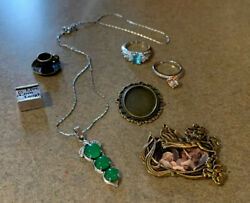 Vintage Sterling Silver Marked 925 Rings Necklace Mini Gold Picture Gorgeous Lot