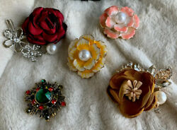 5 Vintage Woman's Jewelry Pins Brooches Rhinestone Enamel GORGEOUS LOT!