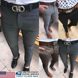 Mens Trousers Slim Fit Business Formal Pants Casual Office Skinny Solid Trousers