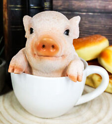 Ebros Adorable Babe Teacup Pig Figurine 5.25quot; Tall Realistic Animal Collectible $22.54