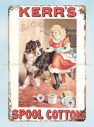 wall designs for living room Kerr#x27;s Spool Cotton dog child metal tin sign $15.85