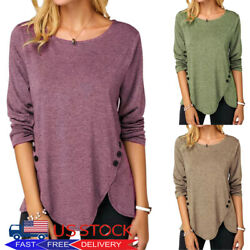 Women's Casual Long Sleeve Blouse Ladies Asymmetrical Buttons T Shirt Tunic Tops