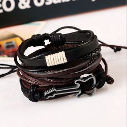 1PCS Women Men Guitar Multilayer Genuine Leather Bangle Bracelet Wristband Set