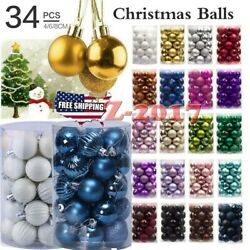 34PC 40mm Christmas Tree Balls Bauble Hanging Home Party Ornament Decor Xmas