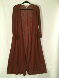 NWT LULAROE SARAH BROWN SIZE SMALL OPEN FRONT LONG LSLV DUSTER CARDIGAN POCKETS
