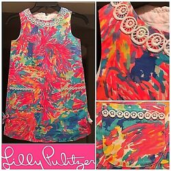 NWT $48 Little Lilly Pulitzer Classic Shift Dress Girls Size 7 Palm Beach Coral
