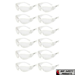 12 PAIR PACK Protective Safety Glasses Clear Lens Work UV ANSI Z87 Lot of 12 $10.95
