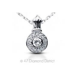 1.53ct tw G VS1 Round Cut Earth Mined Certified Diamonds 14K Gold Halo Pendant