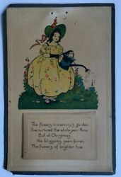 ANTIQUE 100 YEARS OLD 1919 WALL CALENDAR GIRL GARDEN FLOWERS POEM WATERING CAN