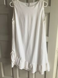 valentino spa cotton stretch sleeveless dress large white asymetrical