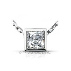 1.28ct F VS2 Princess Cut Earth Mined Certified Diamond PT 950 Solitaire Pendant