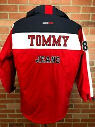 Tommy Jeans Hilfiger Full Zip Puffer Jacket Coat Hooded Size Large