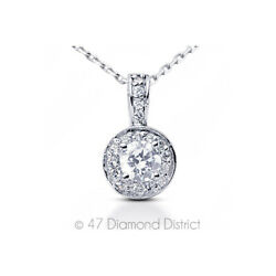 2.35ct tw F-SI2 Round Cut Earth Mined Certified Diamonds 18K Gold Halo Pendant