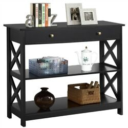 Sofa Side Console Table with Drawer and 2 Storage Shelves Narrow Accent Table $99.99