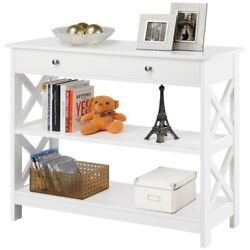 Console Table with Drawer and 2 Open Shelves Narrow Sofa Side Table for Entryway $109.99