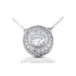2.71ct tw F VS2 Round Cut Earth Mined Certified Diamonds 14K Gold Halo Pendant