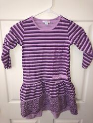 Naartjie Kids Boutique Girl's Embroidered Purple Ruffle Top Tunic Dress L 6 $11.20