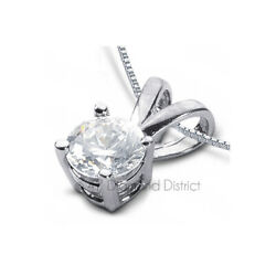 3.03ct H SI2 Round Natural Certified Diamond PT 950 Classic Solitaire Pendant