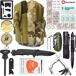 Camping Survival Kit 40 in 1 Outdoor Military Tactical Backpack Emergency Gear $33.24