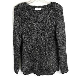 Calvin Klein Black White Boucle Sweater Marled V-neck Womens Size M