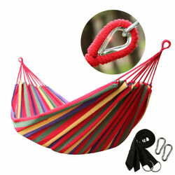 Double 2 Person Cotton Rope Hanging Hammock Swing Camping Canvas Bed w Straps $20.96