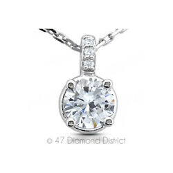 2.12ct tw E-SI1 Round Earth Mined Certified Diamonds 14K Gold Classic Pendant
