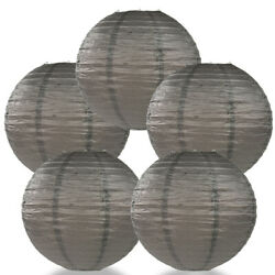 5 PACK 16quot; Driftwood Grey Round Paper Lantern Even Ribbing Decoration $9.52