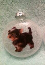 Yorkie Dog Dogs Puppy Puppies Christmas Plastic Shatterproof Disc Ornament $13.50