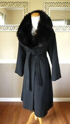Saks Fifth Ave. Black Fox Fur Collar Cashmere Belted Long Wool Coat S M 6 8