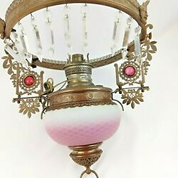 Antique Hobnail Cranberry Satin Glass Library Parlor Hanging Lamp Electrified $2199.00