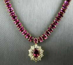 Oval Red Pink Tourmaline & Diamond Necklace Pendant 14K Yellow Gold 42.22Ct