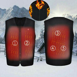 Electric Vest Heated Jacket USB Thermal Warm Up Heated Pad Winter Body Warmer US