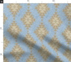 Aztec Textured Kilim Blue Tan Fabric Printed by Spoonflower BTY