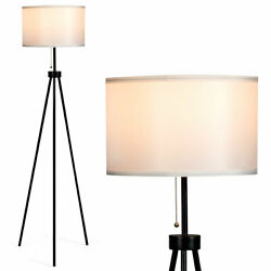 Modern Metal Tripod Floor Lamp White Fabric Shade w Chain Switch Office Decor $52.95