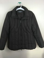 Women's Kenneth Cole Reaction Brown Down Puffer Zip Up Brown Coat Jacket Size 1X