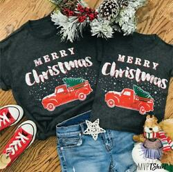 Family Matching Merry Christmas T-shirt Women Men Baby Kids Casual Tops Blouse
