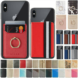 Leather Credit Card Holder Cell Phone Wallet Pocket Sticker Adhesive Pouch-Case