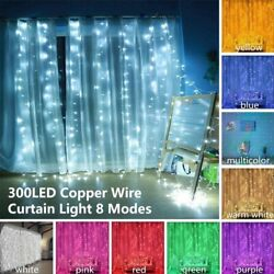 300LED10ft Curtain Fairy Hanging String Lights Home Wedding Party 8 Modes USB $12.02