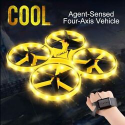 Mini Quadcopter Induction Drone Smart Watch Remote Sensing Gesture RC Aircraft $15.07
