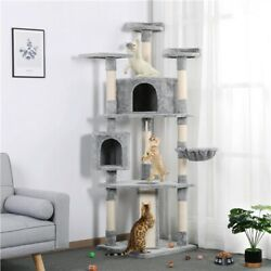 79quot; Cat Tree Bed Furniture Scratching Tower Post Condo Play Pet House Light Gray $85.99