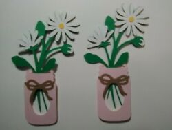 2 set of stemmed daisy with vase  scrapbooking diecuts greeting card