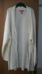 Woman Within Women's Plus Size 2x Button Front V Neck Long Cardigan Sweater
