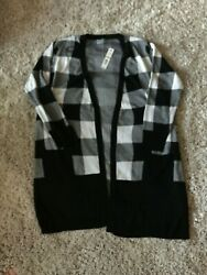 NWT Joseph A Black & White Checked Open Front Long Sweater - Size 3X - $78
