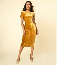 NWT Mustard Velvet Holiday Party Midi Wiggle Pencil Dress Size X-Large $34.99