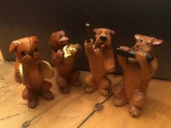 Carved Wooden Dog Music Band Orchestra Miniature Italy