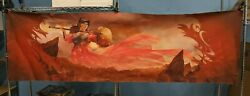 8#x27; Large Table Playmat for Card Gaming Red Art Female Warrior LAEL05 $69.99