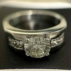 2.25 TCW 950 PLATINUM ENGAGEMENT RING WITH LED LIGHT UP BOX SIZE 6.5 (CERTIFIED)