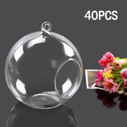 40pcs Flower Hanging Glass Ball Vase Air Plant Terrarium Container Candle Holder