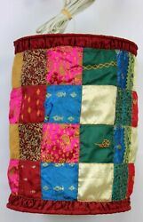 Patchwork Fabric Hanging Light Lamp Drum Red Moroccan Mediterranean Gold Blue $40.00