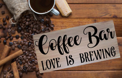 FARMHOUSE Wood Sign COFFEE BAR LOVE IS BREWING KITCHEN Rustic HOME CAFE Decor $11.25